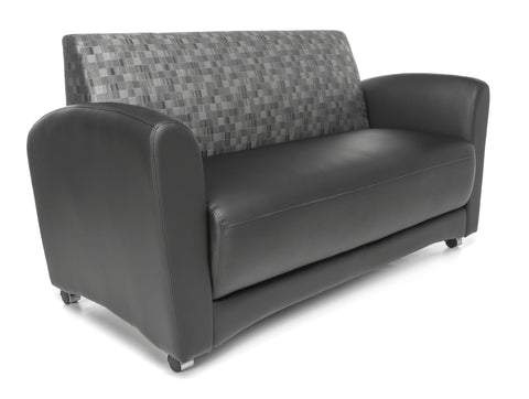 OFM InterPlay Series Model 822-NT Double Seating Sofa, Black Seat with Nickel Back ; UPC: 845123048474 ; Image 1