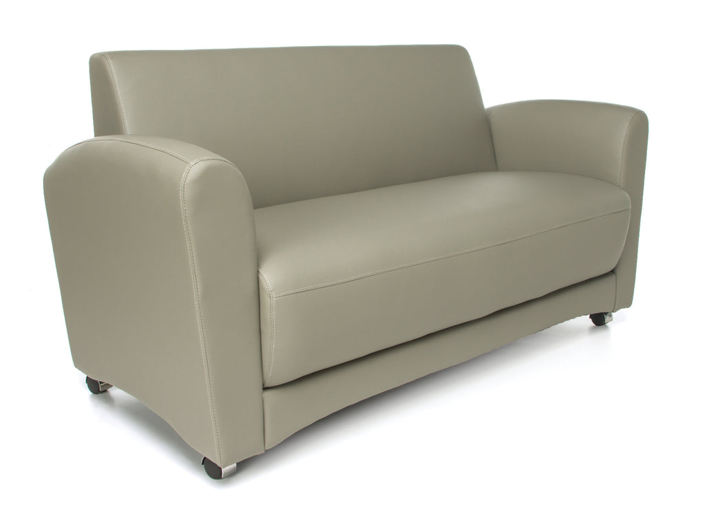 OFM InterPlay Series Upholstered Guest / Reception Sofa, Taupe ; UPC: 845123048450 ; Image 1