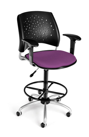 OFM Stars Series Model 326-AA3-DK Fabric Swivel Task Chair with Arms and Drafting Kit, Plum ; UPC: 845123013335 ; Image 1
