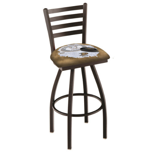 "36"" Black Wrinkle Anaheim Ducks (Design 2) Swivel Bar Stool with Ladder Style Back by Holland Bar Stool ; UPC: 071235009182"