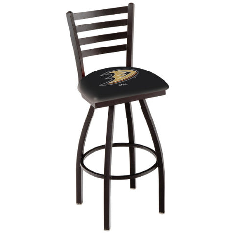 "36"" Black Wrinkle Anaheim Ducks Swivel Bar Stool with Ladder Style Back by Holland Bar Stool ; UPC: 071235003999"