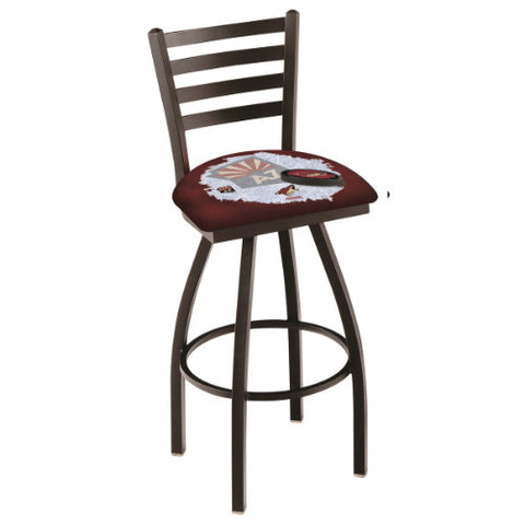 "25"" Black Wrinkle Arizona yotes (Design 2) Swivel Bar Stool with Ladder Style Back by Holland Bar Stool ; UPC: 071235005801"