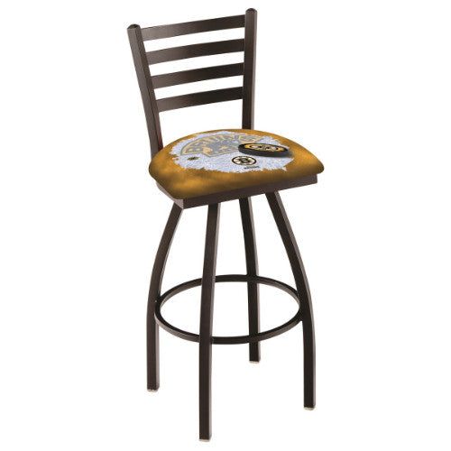"36"" Black Wrinkle Boston Bruins (Design 2) Swivel Bar Stool with Ladder Style Back by Holland Bar Stool ; UPC: 071235009298"