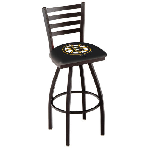 "36"" Black Wrinkle Boston Bruins Swivel Bar Stool with Ladder Style Back by Holland Bar Stool ; UPC: 071235004118"