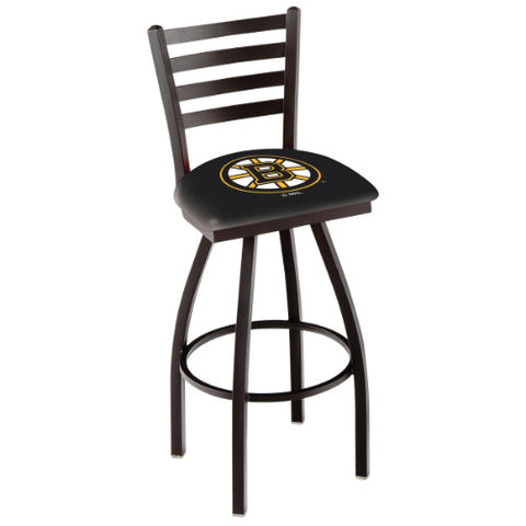 "25"" Black Wrinkle Boston Bruins Swivel Bar Stool with Ladder Style Back by Holland Bar Stool ; UPC: 071235002428"