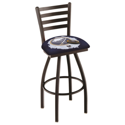 "30"" Black Wrinkle Buffalo Sabres (Design 2) Swivel Bar Stool with Ladder Style Back by Holland Bar Stool ; UPC: 071235007621"