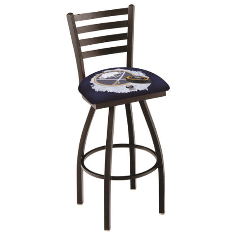 "25"" Black Wrinkle Buffalo Sabres (Design 2) Swivel Bar Stool with Ladder Style Back by Holland Bar Stool ; UPC: 071235005924"