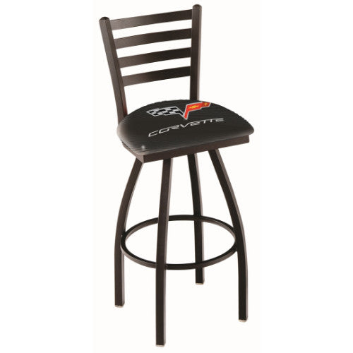 "36"" Black Wrinkle Corvette C6 Black Swivel Bar Stool with Ladder Style Back by Holland Bar Stool Co.; UPC: 071235004156"