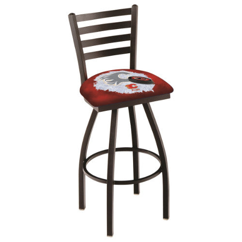 "30"" Black Wrinkle Calgary Flames (Design 2) Swivel Bar Stool with Ladder Style Back by Holland Bar Stool ; UPC: 071235007638"