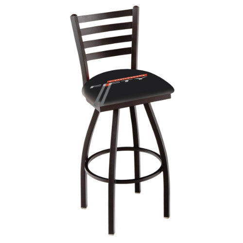 "36"" Black Wrinkle Camaro 50th Anniversary Black Swivel Bar Stool with Ladder Style Back by Holland Bar Stool Co.; UPC: 071235868130"