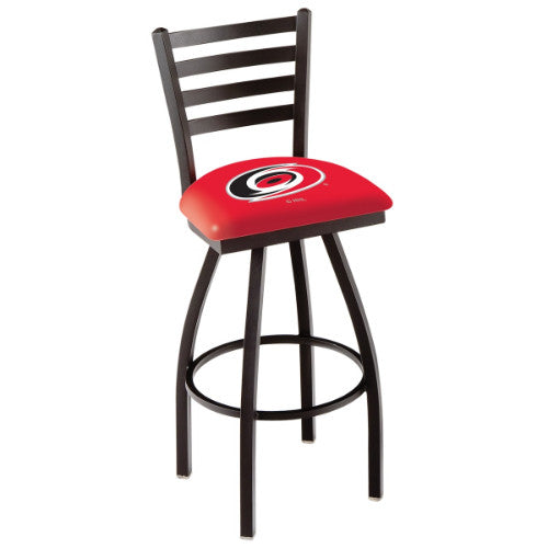 "30"" Black Wrinkle Carolina Hurricanes Swivel Bar Stool with Ladder Style Back by Holland Bar Stool ; UPC: 071235002497"