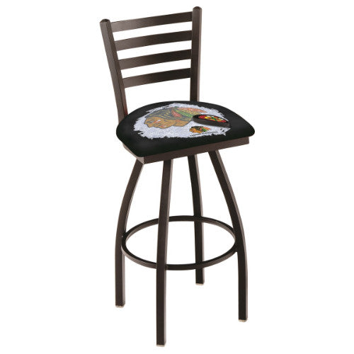 "30"" Black Wrinkle Chicago Blackhawks Black (Design 2) Swivel Bar Stool with Ladder Style Back by Holland Bar Stool ; UPC: 071235007683"