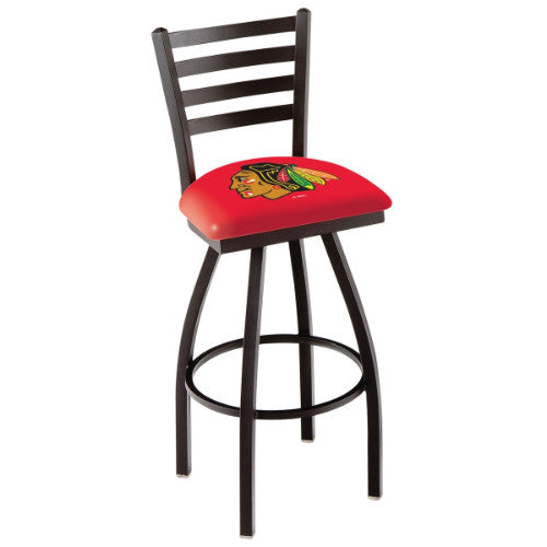 "30"" Black Wrinkle Chicago Blackhawks Swivel Bar Stool with Ladder Style Back by Holland Bar Stool ; UPC: 071235002534"