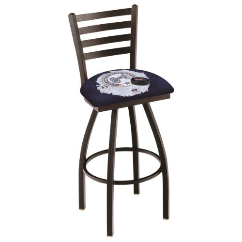 "30"" Black Wrinkle lumbus Blue Jackets (Design 2) Swivel Bar Stool with Ladder Style Back by Holland Bar Stool ; UPC: 071235007737"