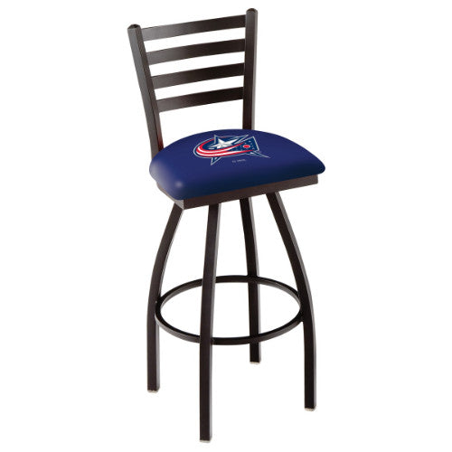 "36"" Black Wrinkle lumbus Blue Jackets Swivel Bar Stool with Ladder Style Back by Holland Bar Stool ; UPC: 071235004279"
