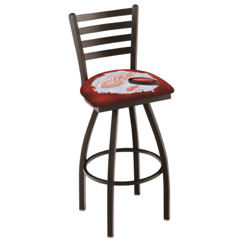 "36"" Black Wrinkle Detroit Red Wings (Design 2) Swivel Bar Stool with Ladder Style Back by Holland Bar Stool ; UPC: 071235009502"