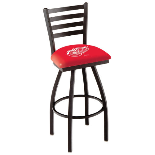 "30"" Black Wrinkle Detroit Red Wings Swivel Bar Stool with Ladder Style Back by Holland Bar Stool ; UPC: 071235002619"