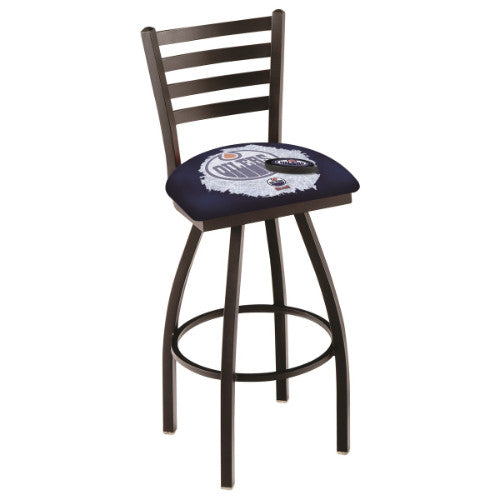 "30"" Black Wrinkle Edmonton Oilers (Design 2) Swivel Bar Stool with Ladder Style Back by Holland Bar Stool ; UPC: 071235007850"