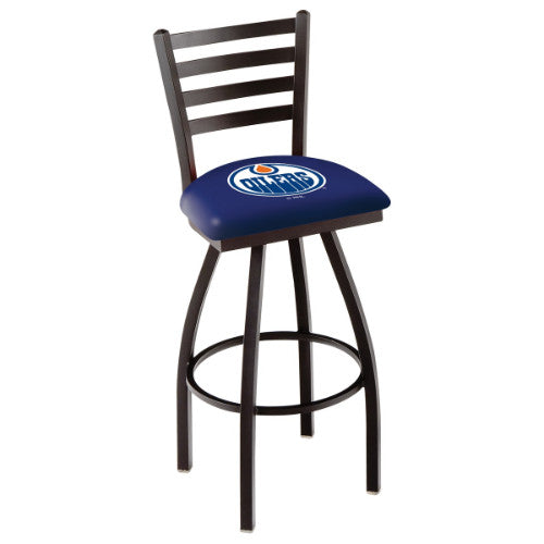 "30"" Black Wrinkle Edmonton Oilers Swivel Bar Stool with Ladder Style Back by Holland Bar Stool ; UPC: 071235002633"