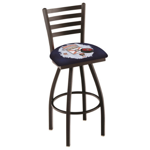 "25"" Black Wrinkle Florida Panthers (Design 2) Swivel Bar Stool with Ladder Style Back by Holland Bar Stool ; UPC: 071235006174"