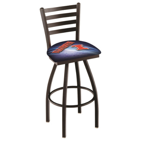 "25"" Black Wrinkle Illinois (Design 2) Swivel Bar Stool with Ladder Style Back by Holland Bar Stool Co.; UPC: 071235006310"