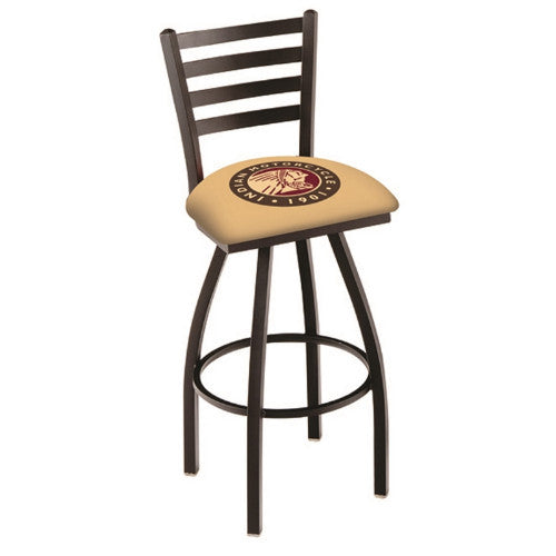 "25"" Black Wrinkle Indian Motorcycle Swivel Bar Stool with Ladder Style Back by Holland Bar Stool Co.; UPC: 071235003586"