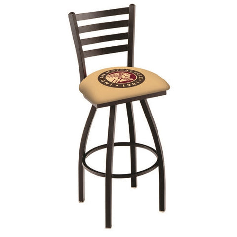 "36"" Black Wrinkle Indian Motorcycle Swivel Bar Stool with Ladder Style Back by Holland Bar Stool Co.; UPC: 071235004590"