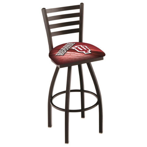 "30"" Black Wrinkle Indiana (Design 2) Swivel Bar Stool with Ladder Style Back by Holland Bar Stool Co.; UPC: 071235008031"