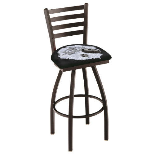 "25"" Black Wrinkle Los Angeles Kings (Design 2) Swivel Bar Stool with Ladder Style Back by Holland Bar Stool ; UPC: 071235006402"