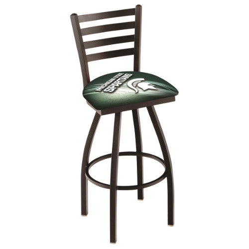"36"" Black Wrinkle Michigan (Design 2) State Swivel Bar Stool with Ladder Style Back by Holland Bar Stool Co.; UPC: 071235009908"