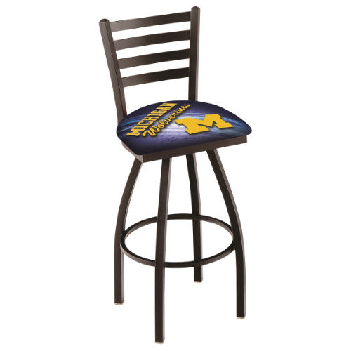 "36"" Black Wrinkle Michigan (Design 2) Swivel Bar Stool with Ladder Style Back by Holland Bar Stool Co.; UPC: 071235009915"