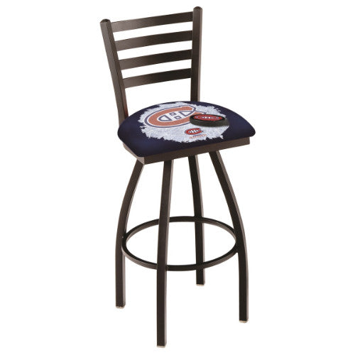 "30"" Black Wrinkle Montreal Canadiens (Design 2) Swivel Bar Stool with Ladder Style Back by Holland Bar Stool ; UPC: 071235008260"