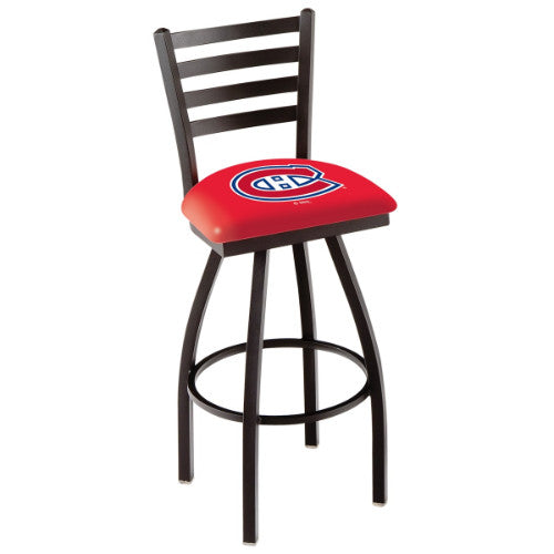 "30"" Black Wrinkle Montreal Canadiens Swivel Bar Stool with Ladder Style Back by Holland Bar Stool ; UPC: 071235002718"