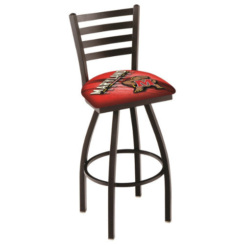 "36"" Black Wrinkle Maryland (Design 2) Swivel Bar Stool with Ladder Style Back by Holland Bar Stool Co.; UPC: 071235800628"