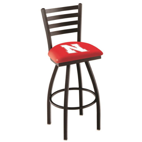 "30"" Black Wrinkle Nebraska Swivel Bar Stool with Ladder Style Back by Holland Bar Stool Co.; UPC: 071235001575"