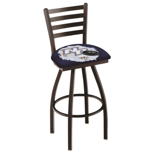 "30"" Black Wrinkle Nashville Predators (Design 2) Swivel Bar Stool with Ladder Style Back by Holland Bar Stool ; UPC: 071235008505"