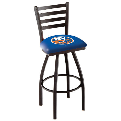 "36"" Black Wrinkle New York Islanders Swivel Bar Stool with Ladder Style Back by Holland Bar Stool ; UPC: 071235005115"