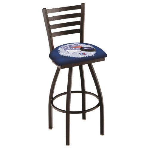 "36"" Black Wrinkle New York Rangers (Design 2) Swivel Bar Stool with Ladder Style Back by Holland Bar Stool ; UPC: 071235800833"