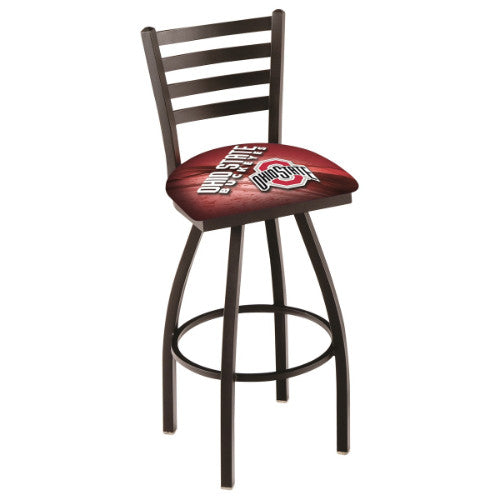 "36"" Black Wrinkle Ohio State (Design 2) Swivel Bar Stool with Ladder Style Back by Holland Bar Stool Co.; UPC: 071235800840"