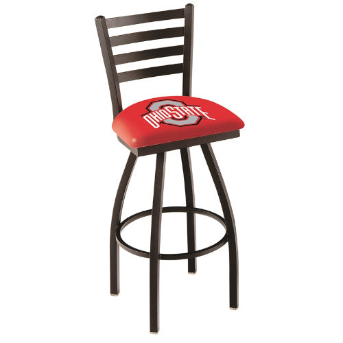 "30"" Black Wrinkle Ohio State Swivel Bar Stool with Ladder Style Back by Holland Bar Stool Co.; UPC: 071235000714"