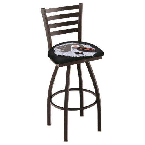 "25"" Black Wrinkle Philadelphia Flyers (Design 2) Swivel Bar Stool with Ladder Style Back by Holland Bar Stool ; UPC: 071235006907"