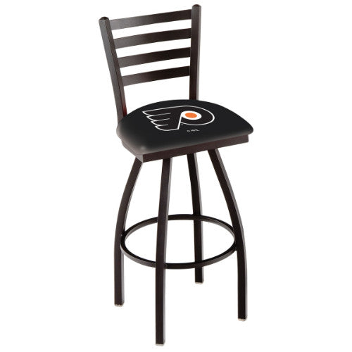 "30"" Black Wrinkle Philadelphia Flyers Swivel Bar Stool with Ladder Style Back by Holland Bar Stool ; UPC: 071235002831"