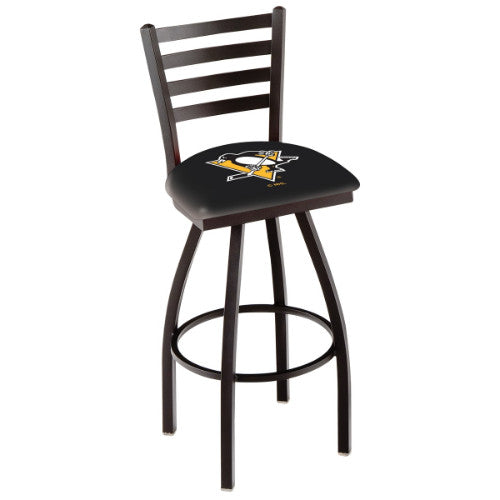 "36"" Black Wrinkle Pittsburgh Penguins Swivel Bar Stool with Ladder Style Back by Holland Bar Stool ; UPC: 071235005214"