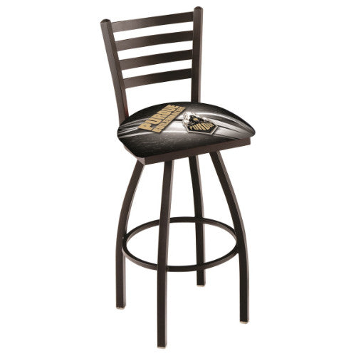"36"" Black Wrinkle Purdue (Design 2) Swivel Bar Stool with Ladder Style Back by Holland Bar Stool Co.; UPC: 071235800949"