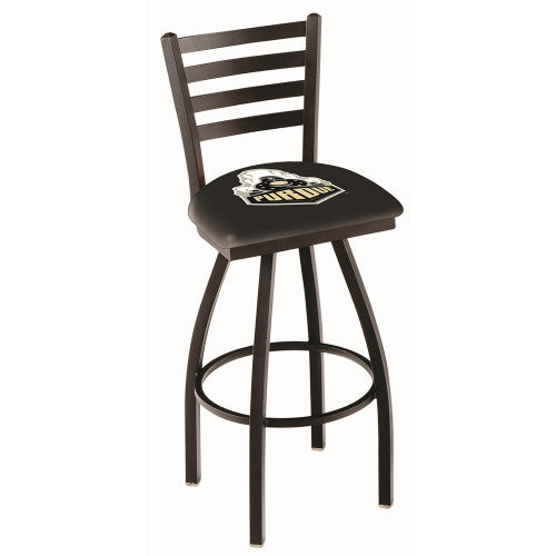 "36"" Black Wrinkle Purdue Swivel Bar Stool with Ladder Style Back by Holland Bar Stool Co.; UPC: 071235005245"