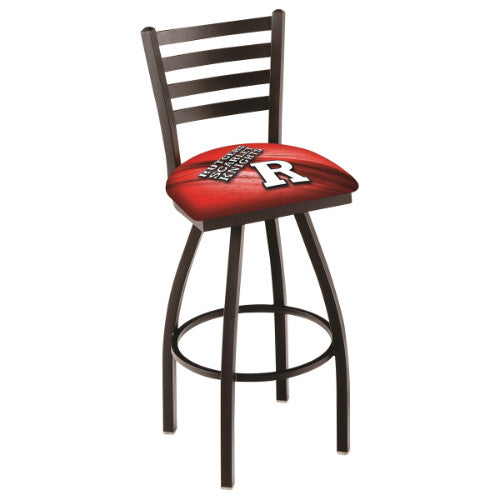 "25"" Black Wrinkle Rutgers (Design 2) Swivel Bar Stool with Ladder Style Back by Holland Bar Stool Co.; UPC: 071235006952"