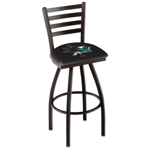 "36"" Black Wrinkle San Jose Sharks Swivel Bar Stool with Ladder Style Back by Holland Bar Stool ; UPC: 071235005276"