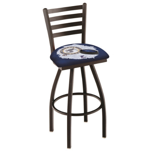 "30"" Black Wrinkle St Louis Blues (Design 2) Swivel Bar Stool with Ladder Style Back by Holland Bar Stool ; UPC: 071235008734"
