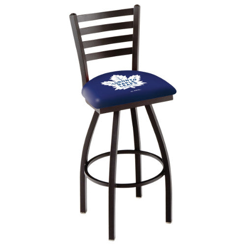 "36"" Black Wrinkle Toronto Maple Leafs Swivel Bar Stool with Ladder Style Back by Holland Bar Stool ; UPC: 071235005412"