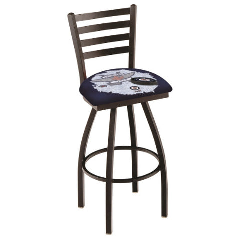 "30"" Black Wrinkle Winnipeg Jets (Design 2) Swivel Bar Stool with Ladder Style Back by Holland Bar Stool ; UPC: 071235009083"